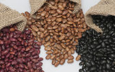 Kidney beans, pinto beans and black beans. — Stock Photo