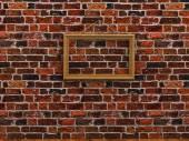Leeg afbeeldingsframe opknoping op een touw bakstenen muur houten vloer — Stockfoto