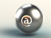 Iron ball in glass sphere with familiar Internet address — Stock Photo