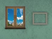 Struttura astratta della parete e pavimento verde sfondo finestra chiusa in legno blu cielo cornice vuota sulla parete — Foto Stock