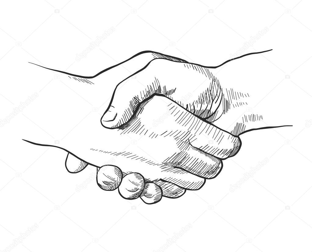 Hand gezeichnete Skizze des Handshakes — Stockvektor ...