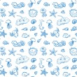 Seamless pattern of sea life elements. — Stock Vector #73364077