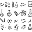 Hand drawn chemistry and science icons — Stock Vector #73364301