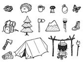 Camping Doodles set — Stock Vector