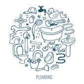 Hand drawn plumbing background. — Stock Vector