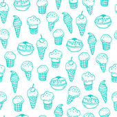 Seamless pattern with ice creams. — Stock Vector