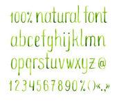 Watercolor green natural font. — Stock Vector