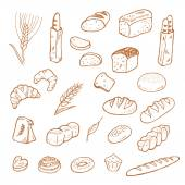 Hand drawn bread on white background.  — Stockvektor