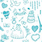 Hand drawn wedding seamless pattern. — Stock Vector
