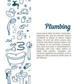 Hand drawn plumbing doodle set — Stock Vector