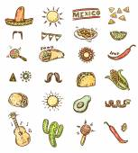 Mexican hand drawn icons — Stock Vector