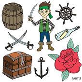 Sketch pirates set. — Stock Vector