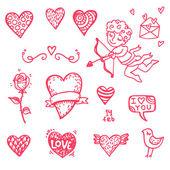 Ręcznie rysowane ikony Walentynki — Wektor stockowy