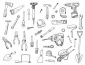 Hand drawn set of construction tools — Stock Vector
