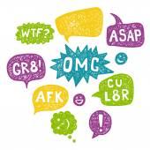 Speech Bubble Acronyms Set. — Stock Vector