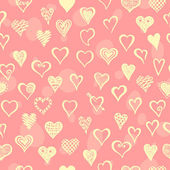 Seamless pattern with cute hearts. — Stock Vector