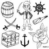 Skiss pirater set. — Stockvektor