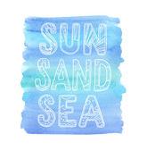 Sun, Sand, Sea. Hand drawn lettering — Stock Vector