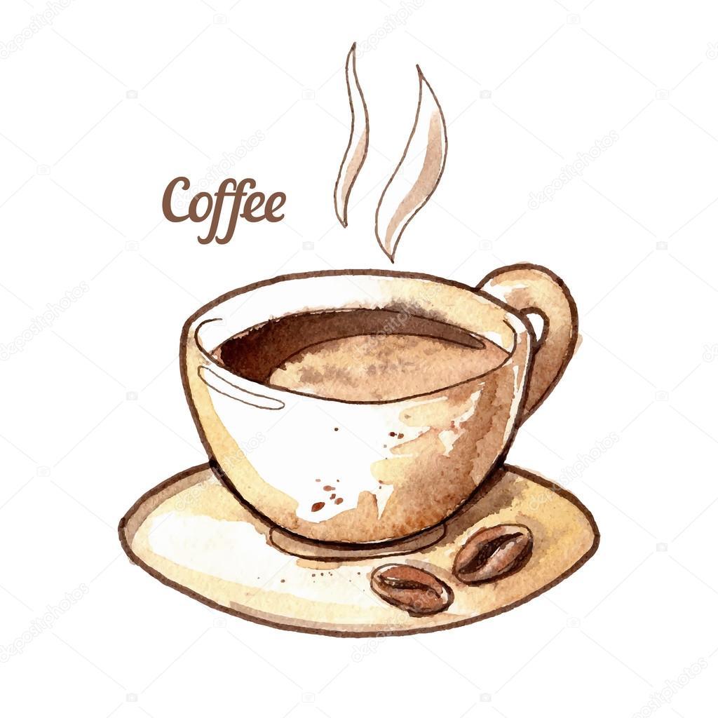 Hand getekend aquarel koffiekopje stockvector for Coffee watercolor