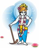 Lord Shri Balaram with plow, vector illustration. — Stock Vector
