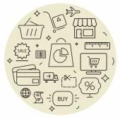 Shopping icons cirle set. Thin line. — Stock Vector