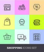 Shopping icons set — Stock Vector