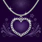 Platinum necklace with  brilliants — Stock Vector