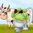 Milking scene with alien and cow — Stockvektor  #74534953