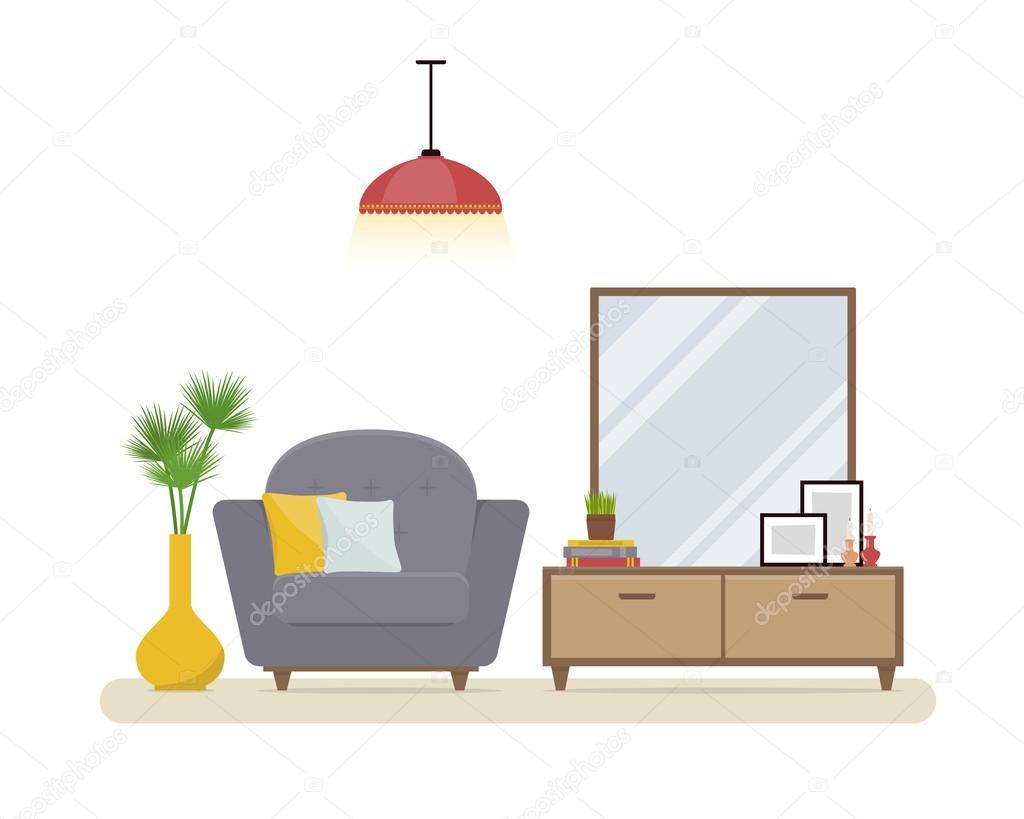 아파트 인테리어입니다. 회색 현대 안락의 자, 스탠드와 거울 ...