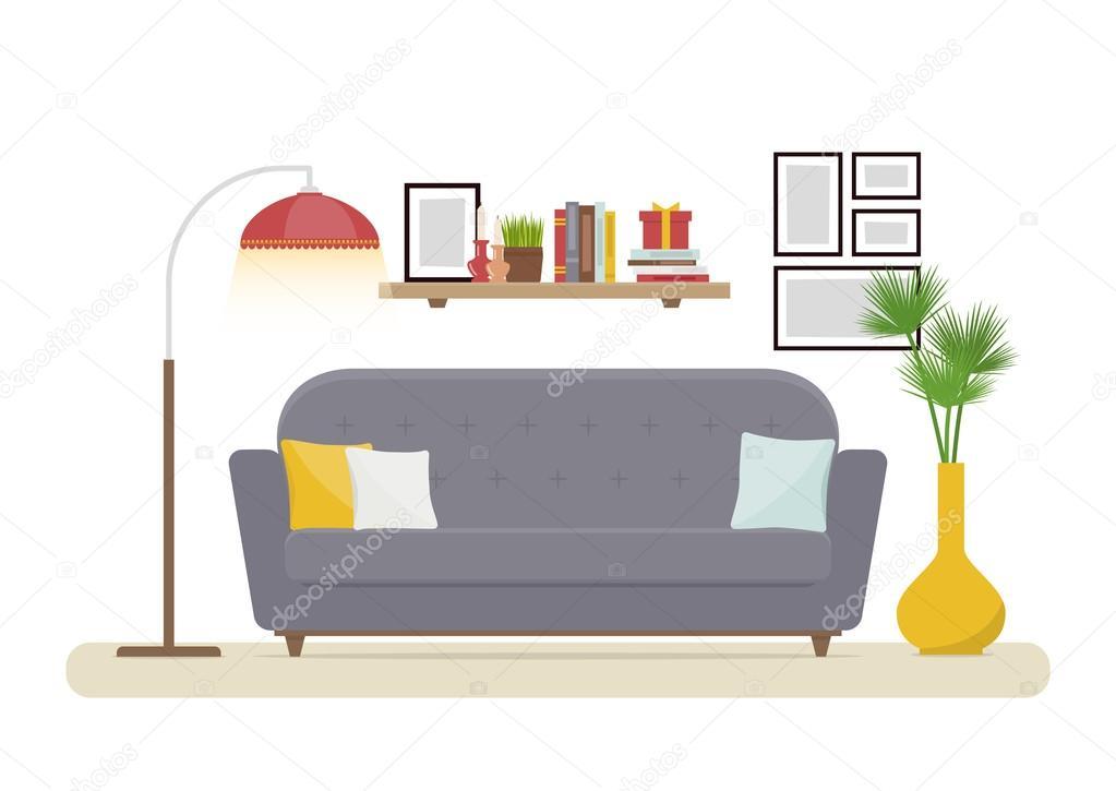 Diseño de interiores. Moderna sala de estar con sofá gris, florero ...