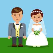 Newlyweds cartoon characters. — Stock Vector