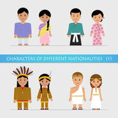 Set characters of different nationalities — Stock Vector