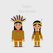 Man and woman in Native American costume — Stock Vector