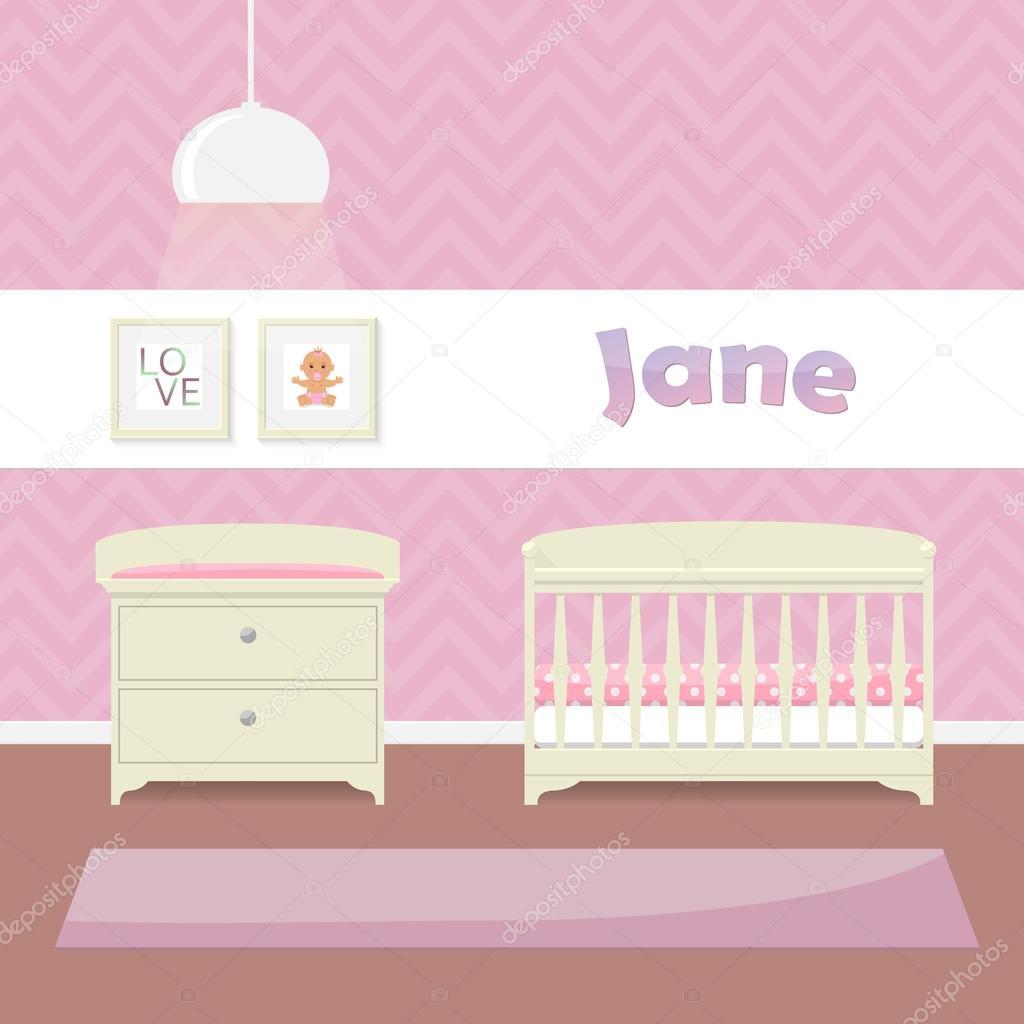 progettare una stanza di childs in rosa per le ragazze. culla ... - Interni Ragazze Camera Design