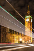 Big Ben and night traffic on Westminster Bridge — Stock Photo