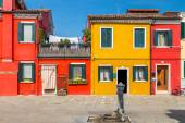 Painted houses of Burano, in the Venetian Lagoon, Italy. — Stock Photo