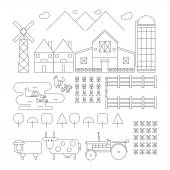 Set of outlined farm. Chicken, Duck, Sheep, Cow, Tractor, Wareho — Stock Vector