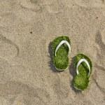 Grass flip flops sandals on the beach — Stock Photo #73662691