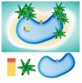 Swimming pool island in summer elements and illustration — Stock Vector