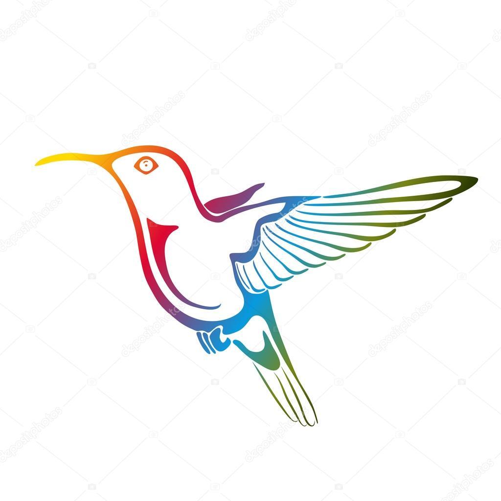 Depositphotos Stock Illustration Colibri Isolated On White Hummingbird Stencil