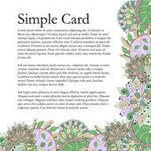Mehendi card tracery handmade, natural mood — Stock Vector