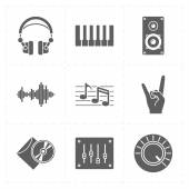 9 universal flat music icons — Stock Vector
