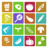 Colorful food and vegetable icon set — Stock Vector