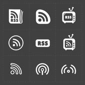RSS sign icons. RSS feed symbols on Black Background. — Stock Vector