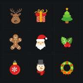 Christmas color icons collection - vector illustration. — Stock Vector