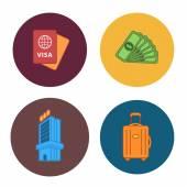 4 iconos de la compañía viajes plana — Vector de stock