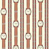 Seamless Background Women Wrist Watch With Stylish Bracelets — Stock Vector