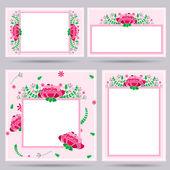 Conjunto de cuatro invitación boda rosa con elementos florales — Vector de stock