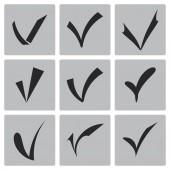Vector black confirm icons set — Stock Vector