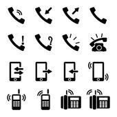 Vector black telephone icons set on white background — Stock Vector